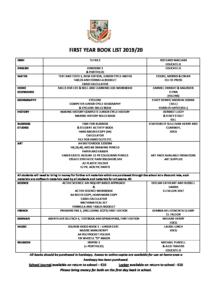 Book List 2020.First Year Book List 2019 2020 St Aloysius School