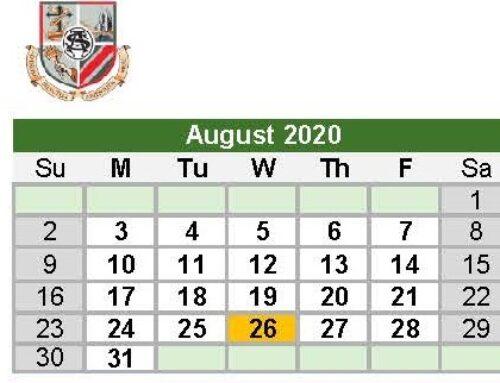 Calendar for 2020 / 2021